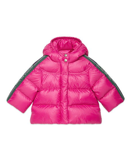 Gucci Girl's Padded Hooded Jacket w/ Logo Taping, Size 12-36 Months