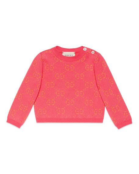 Gucci Metallic GG Jacquard Sweater, Size 6-36 Months