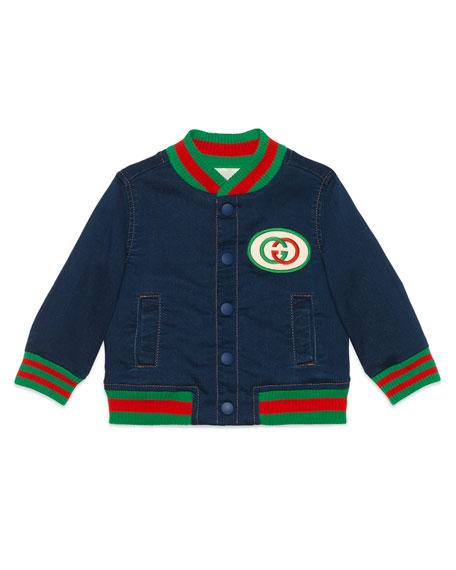 Gucci Web Trim Denim Bomber Jacket, Size 9-36 Months