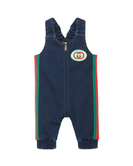 Gucci Denim Overalls w/ Web Trim & Logo Patch, Size 3-9 Months