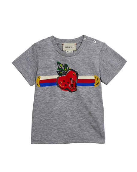 Gucci Girl's Strawberry Logo Jersey Tee, Size 6-36 Months