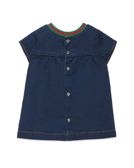 Gucci Short-Sleeve Denim Dress w/ Interlocking G Patch, Size 6-36 Months