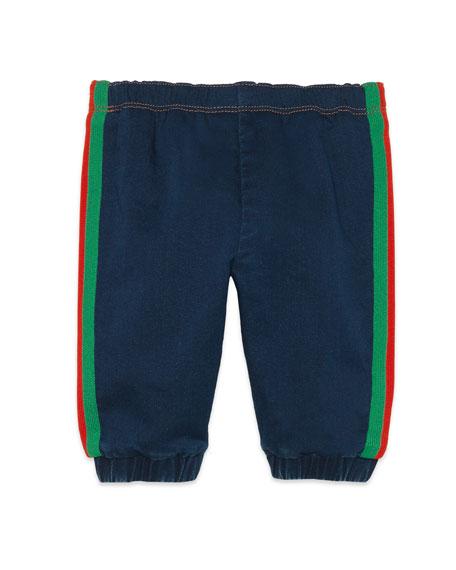 Gucci Denim Jogging Pants w/ Web Trim Sides, Size 9-36 Months