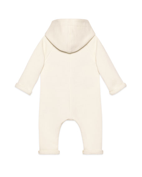 Image 2 of 2: Gucci Racket Logo Embroidered Hooded Coverall, Size 3-24 Months