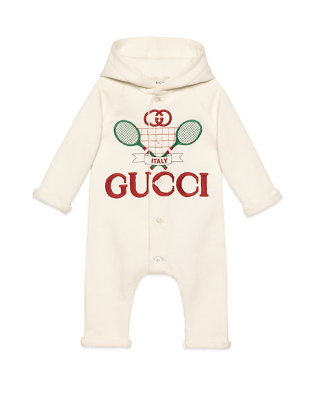 Image 1 of 2: Gucci Racket Logo Embroidered Hooded Coverall, Size 3-24 Months