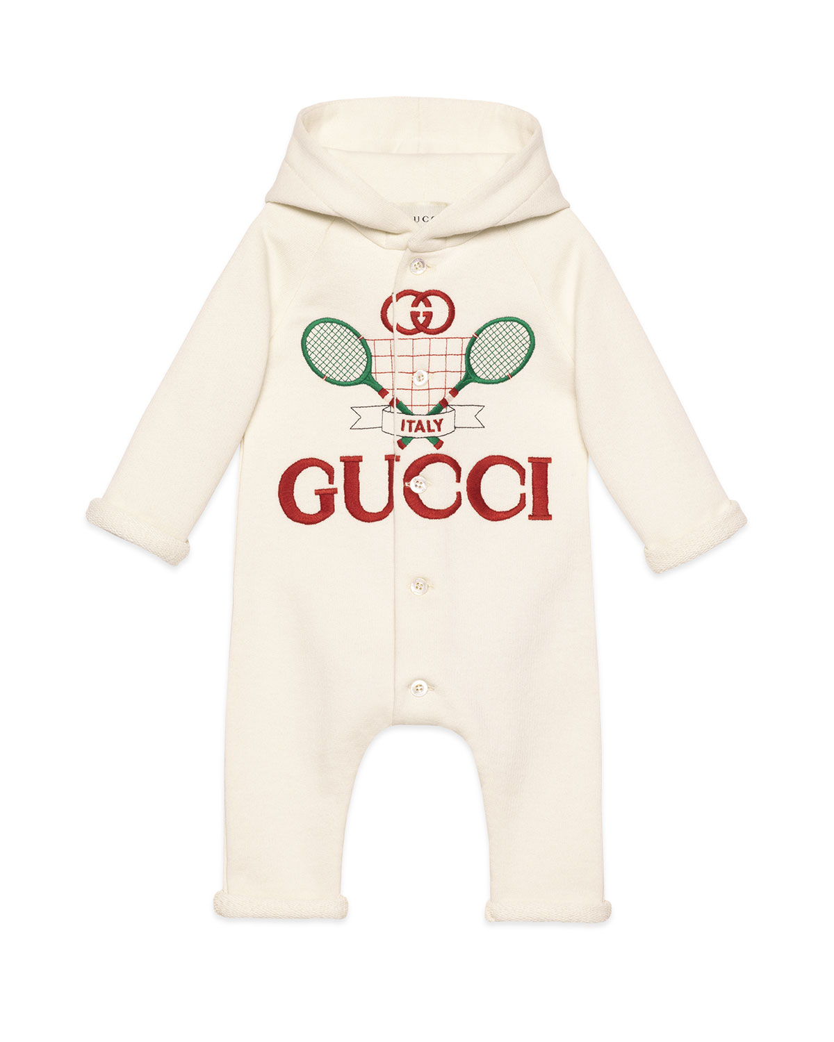 Racket Logo Embroidered Hooded Coverall, Size 3 24 Months by Gucci