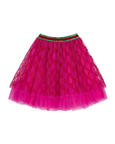 Girls' Iconic Embroidered Tulle Skirt  Size 4-12