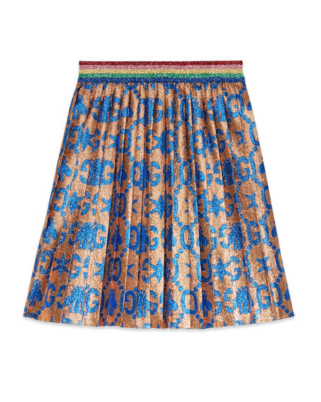 Gucci GG Bees & Stars Lame Jacquard Pleated Skirt, Size 4-12