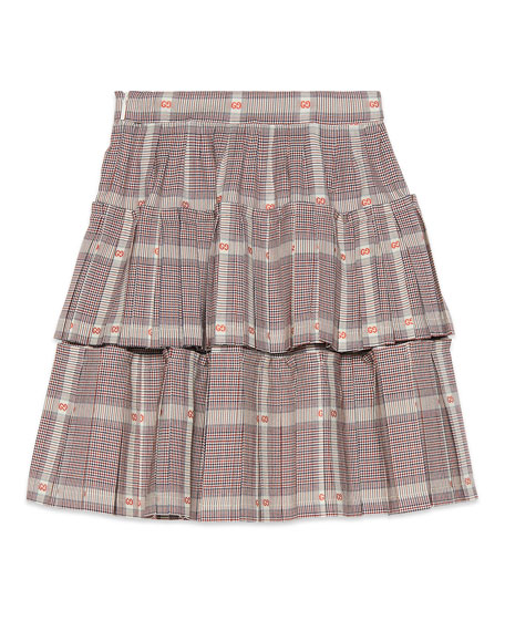Gucci Tiered Plaid Skirt w/ GG Fil Coupe, Size 4-12
