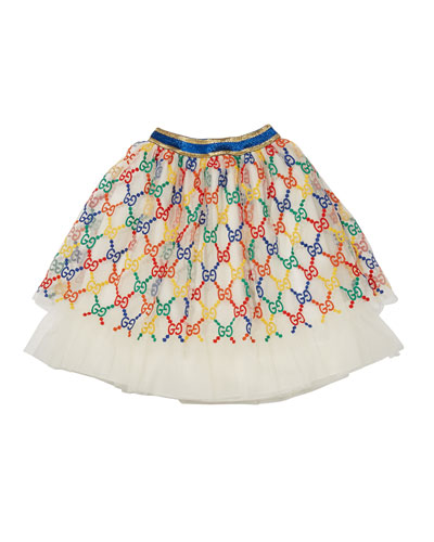 Girls' Iconic Embroidered Tulle Skirt, Size 12-36 Months