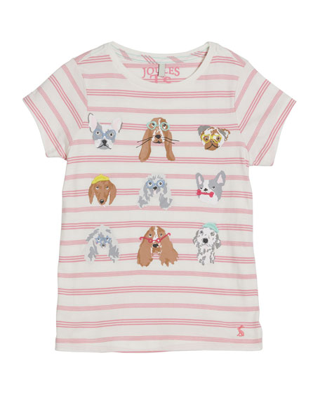 Joules Astra Striped Dog Print Tee, Size 2-12
