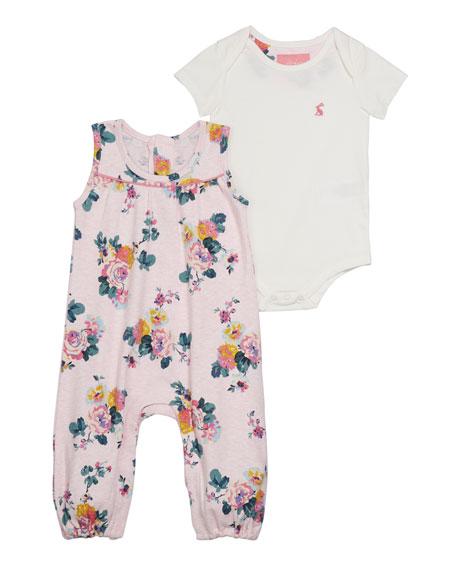 Joules Olive Floral Romper w/ Solid Bodysuit, Size 3-24 Months