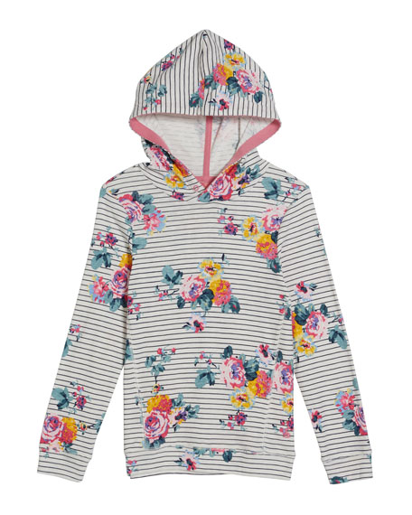 Joules Marlston Striped & Floral Hoodie, Size 4-12