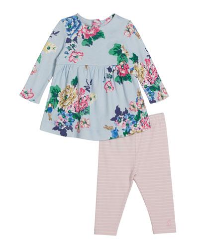 Christina Floral Print Short-Sleeve Dress w/ Solid Leggings, Size 6-24 Months