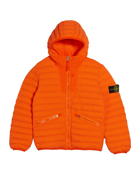Stone Island Channel Quilted Down Jacket, Size 2-6