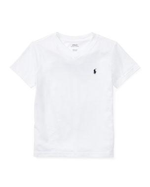 3c8f60c0 Ralph Lauren Childrenswear Short-Sleeve Jersey V-Neck T-Shirt, Size 2