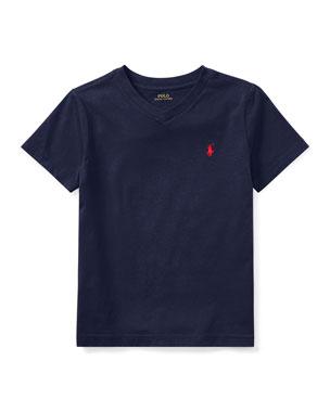 152f6cbe2 Ralph Lauren Childrenswear Short-Sleeve Jersey V-Neck T-Shirt, Size 2