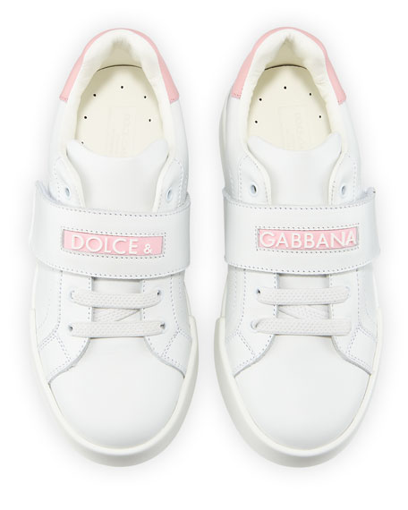 Dolce & Gabbana Grip-Strap Two-Tone Leather Logo Sneakers, Toddler
