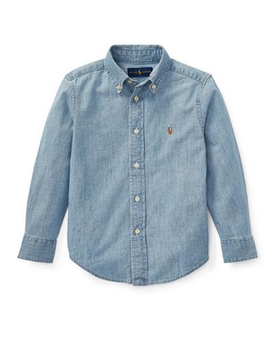 Woven Chambray Shirt, Size 2-3