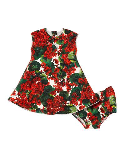 Geranium Print Jersey Dress w/ Bloomers  Size 12-30 Months