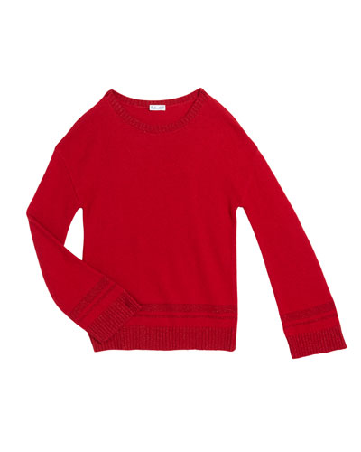 Girl's Lurex Knit Sweater  Size 7-14