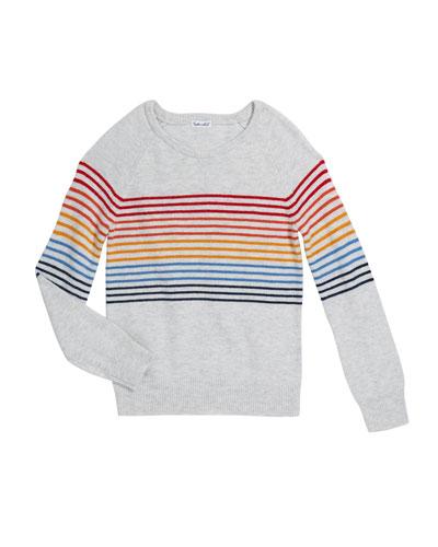 Girl's Rainbow Stripe Knit Top, Size 7-14