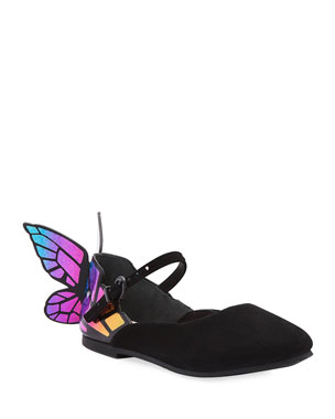 5ddc6ed372 Sophia Webster Chiara Suede Mirrored Butterfly Mary Jane Flats, Toddler/Kids