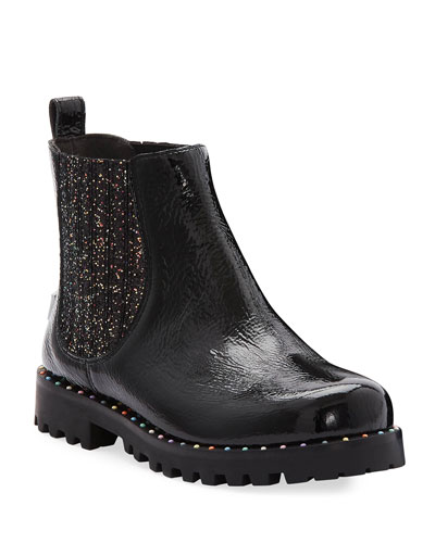 Lara Rainbow Studded Patent Leather Boots  Baby/Toddler/Kids