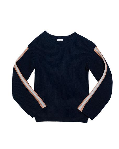 Splendid Girl's Rib Sweater with Metallic Striped Taping, Size 7-14