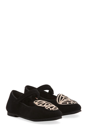 Sophia Webster Butterfly Embroidered Suede Flats, Baby/Toddler