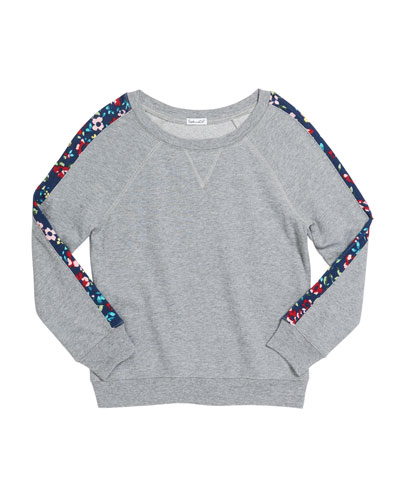 Girl's Floral Trim Active Top  Size 7-14