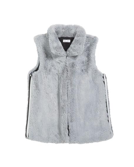 Splendid Girl's Lurex Tape Trim Faux Fur Vest, Size 7-14