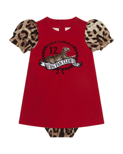 Girl's Jersey Leopard Print Dress w/ Matching Bloomers, Size 12-30 Months