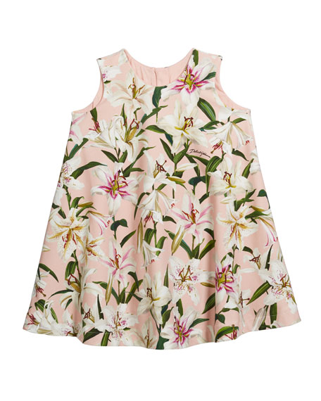 Dolce & Gabbana Girl's Lily-Print Sleeveless Jersey Swing Dress, Size 4-6