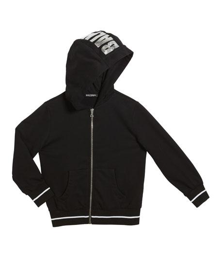 Balmain Kid's Zip-Up Hoodie w/ Metallic Logo, Size 4-8