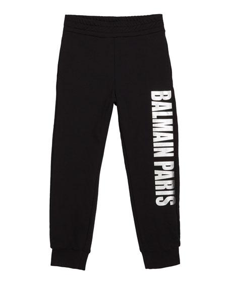 Balmain Kid's Metallic Logo Sweatpants, Size 4-8