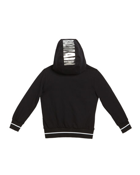 Balmain Kid's Zip-Up Hoodie w/ Metallic Logo, Size 10-16