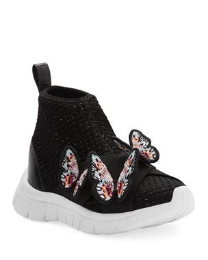 cc18e2952b Sophia Webster Maisy Lurex Knit Mid-Top Sneakers w/ 3D Butterfly Details,  Baby