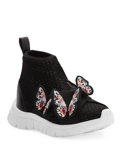 Maisy Lurex Knit Mid-Top Sneakers w/ 3D Butterfly Details  Baby/Toddler/Kids