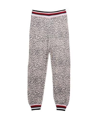 Girl's Leopard Knit Jogger Pants  Size 7-14