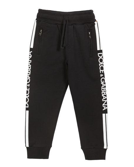 Dolce & Gabbana Boy's Logo Sides Jogger Pants, Size 4-6