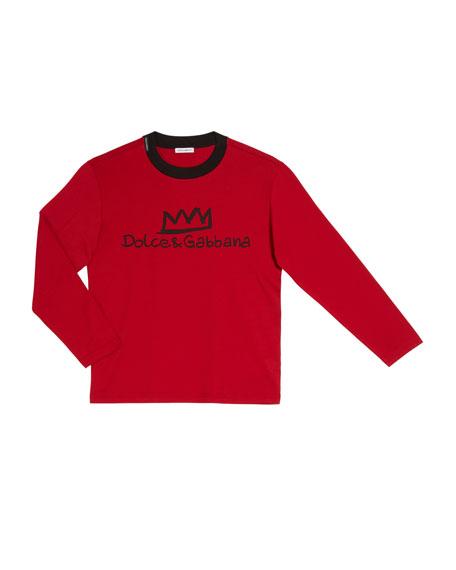 Dolce & Gabbana Boy's Logo Crown Long-Sleeve T-Shirt, Size 4-6