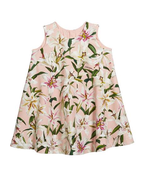 Dolce & Gabbana Girl's Lily-Print Sleeveless Jersey Swing Dress, Size 8-12