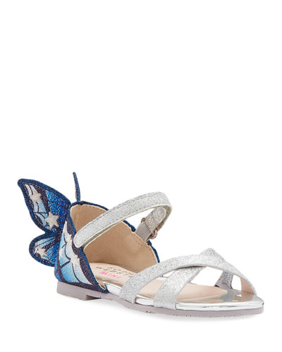 Chiara Fine Glitter Embroidered Butterfly Wing Sandals  Baby/Toddler