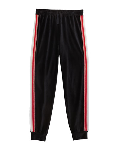 Girl's Velour Jogger Pants w/ Lurex Taping  Size 7-14