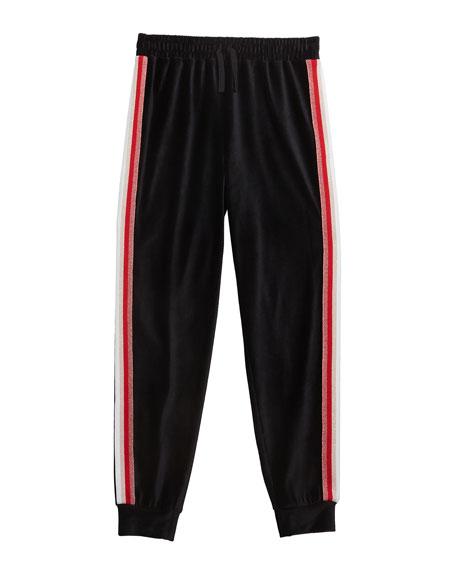 Splendid Girl's Velour Jogger Pants w/ Lurex Taping, Size 7-14