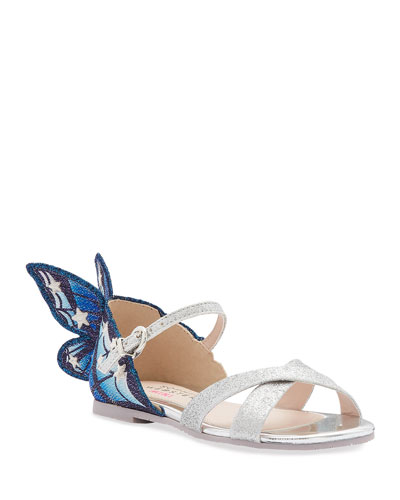 Chiara Fine Glitter Embroidered Butterfly Wing Sandals  Toddler/Kids