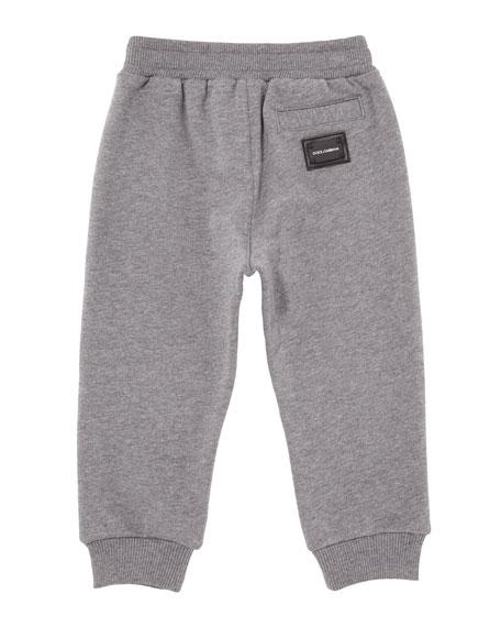 Dolce & Gabbana Drawstring Jogger Pants w/ Logo Patch, Size 12-30 Months