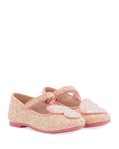 Butterfly Embroidered Chunky Glitter Flats  Baby/Toddler