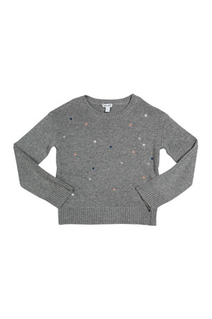 Splendid Kid's Lurex Star Embroidery Sweater, Size 7-14